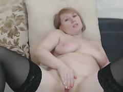 Amazing Chubby Busty Blonde Mummy Masturbates
