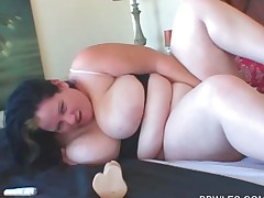 Busty BBW lesbian self nailing with a huge dildo